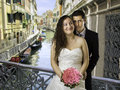 Wedding in venice newly married bridge Royalty Free Stock Images