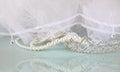 Wedding vintage crown of bride, pearls and veil. wedding concept