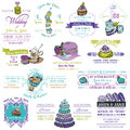 Wedding vintage invitation collection dessert and macaroon theme in Royalty Free Stock Photo
