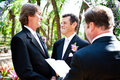 Wedding vows gay male couple saying their marriage before a minister in lovely outdoor setting Royalty Free Stock Photos