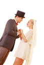 Wedding vows happy couple take pledge holding hands Royalty Free Stock Image