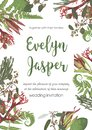 Wedding, watercolor seasonal flower card.Plants, leaves, branches, brunia, blooming eucalyptus, leucadendron, gaultheria, salal,