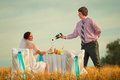 Wedding on the wheat field Royalty Free Stock Photography