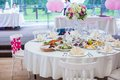 Wedding white banquet tables prepared for celebration Stock Images