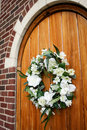 Wedding Wreath on Door Stock Photos