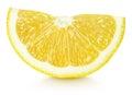 Wedge of yellow lemon citrus fruit isolated on white Royalty Free Stock Photo