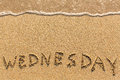 Wednesday - drawn of the hand on the beach sand. Royalty Free Stock Photo