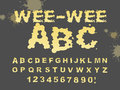 Wee-wee ABC. Yellow liquid font. piss typography. Urine alphabet