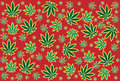 Weed leaf pattern in red background