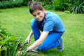 Weeding teenager boy the beds in the garden Royalty Free Stock Images