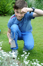 Weeding teenager boy the beds in the garden Stock Image
