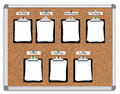 Week schedule vector illustration of corkboard with pinned clipboards with white sheets of paper for each day Stock Image
