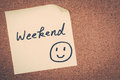 Weekend note message on bulletin board Stock Photos