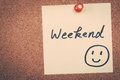Weekend note message pin on bulletin board Royalty Free Stock Image