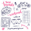 Weekend sketch art romantic set of hand drawn elements with phone booth, photo card and bicycle. For greeting card and decoration