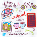 Weekend stickers romantic set of hand drawn elements with phone booth, photo card and tandem bike. For greeting card and decoratio
