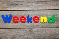 Weekend word made of colorful magnets Stock Photos