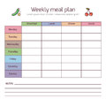 Weekly meal plan, mealtime vector diary