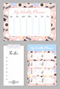 Weekly planner template. Organizer and schedule with place for notes and to do list.