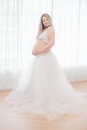 Weeks a woman pregnant with a lace petticoat Royalty Free Stock Photography