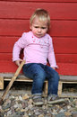 Weeping little girl cute blond haired toddler looking sad Royalty Free Stock Photo