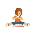 Weeping sad girl character sitting on the floor with an open book vector Illustration Royalty Free Stock Photo