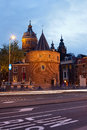 Weeping tower at dusk in amsterdam dutch schreierstoren netherlands Royalty Free Stock Image