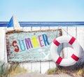 Weißes zaun summer signboard beach konzept Stockfotografie