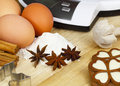 Weigh baking ingredients eggs kitchen scale flour Stock Photos