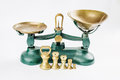 Weigh and measure measuring scale with old brass trays Royalty Free Stock Photo