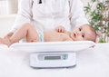 Weighing babies Royalty Free Stock Photo