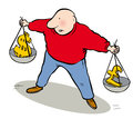 Weighing money man balancing scales with each arm Stock Images