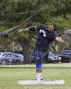Weight for distance event nd annual hawaiian scottish festival and highland games location kapi olani park waikiki on the island Royalty Free Stock Images
