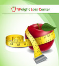 Weight loss background with apple and tape measure red yellow Royalty Free Stock Photos