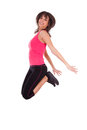 Weight loss fitness woman jumping of joy Royalty Free Stock Photo