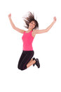 Weight loss fitness woman jumping joy isolated white background Royalty Free Stock Photography