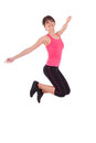 Weight loss fitness woman jumping joy isolated white background Royalty Free Stock Images