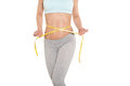 Weight loss, sports girl measuring her waist Royalty Free Stock Photo