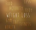 Weight loss tag cloud on brown Royalty Free Stock Photo