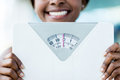 Weight scale happy woman holding a at the gym Stock Image