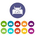 Weight scale icons set flat vector