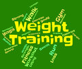 Weight training means fitness center and dumbbell showing working out wordcloud Royalty Free Stock Images
