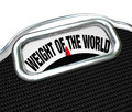 Weight of the world scale words burden trouble on a to illustrate problem danger on shoulders one responsible person Stock Photography