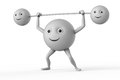 Weightlifter d smiley symbol on white Royalty Free Stock Images