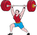 Weightlifter lifting barbell isolated cartoon illustration of a weights set on white background done in style Royalty Free Stock Photo