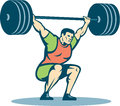 Weightlifter lifting barbell retro illustration of a over head on isolated white background done in style Stock Image