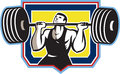 Weightlifter lifting heavy barbell retro illustration of a weights viewed from front set inside crest shield done in style Stock Image