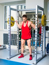 Weightlifter squats Royalty Free Stock Photo