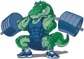 Weightlifting Alligator Mascot Cartoon Illustration