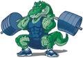 Weightlifting Alligator Mascot...